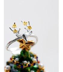 anello regolabile elegante del nastro dell'anello della testa dei cervi per l'anello in lega di zinco delle donne di natale