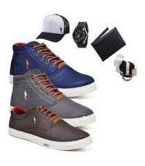 kit 3 pares sapatênis polo blu casual cano alto e cano baixo azul/cinza/café acompanha carteira + relógio + cinto + meia + boné