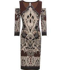 abito con cut-out stampato (marrone) - bodyflirt boutique