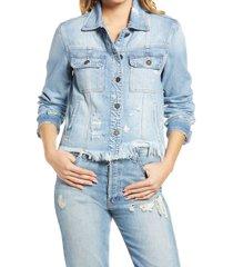 women's hidden jeans frayed hem denim jacket, size medium - blue
