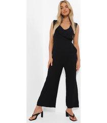 katoenen culotte jumpsuit met franjes en textuur, black