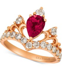 le vian rhodolite garnet (1 ct. t.w.) & diamond (3/4 ct. t.w.) tiara ring in 14k rose gold