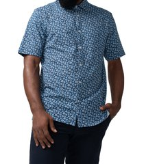good man brand on-point floral short sleeve stretch button-up shirt, size x-large in blue daisy pop at nordstrom