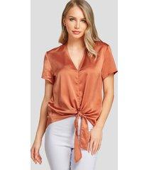yoins marrón satén cuello en v anudado diseño blusa manga corta