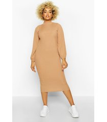 plus rib high neck blouson sleeve midi dress, camel