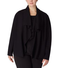anne klein plus size draped open-front jacket
