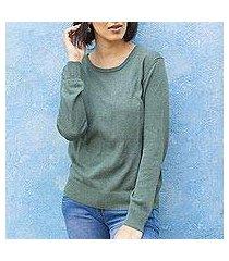 cotton blend pullover, 'warm valley in viridian' (peru)