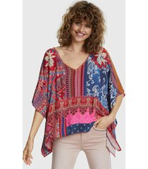 blusa desigual mc multicolor - calce holgado