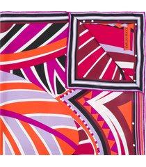 emilio pucci leaf print scarf - purple