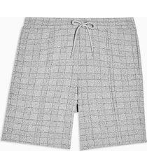 mens grey check jersey shorts