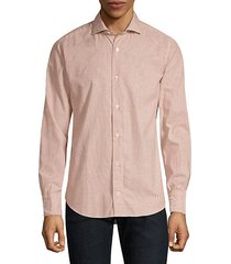 melange cotton stripe button-down shirt