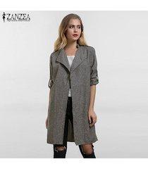 zanzea ropa de abrigo para mujer primavera otoño casual solapa suelta chaqueta cortavientos capa de abrigo chaqueta fina chaqueta abrigos tallas grandes de gran tamaño -gris