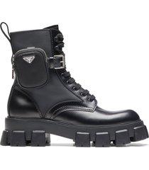 prada ankle pouch combat boots - black
