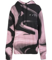 off-white pink and black liquid melt woman oversize hoodie