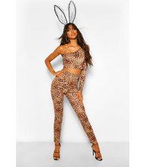 lang legging met luipaardprint voor halloween, bruin