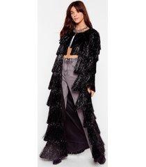 womens party crasher fringe longline jacket - black