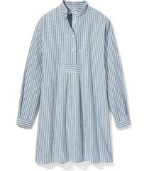 short sleep shirt sapporo cotton linen stripe