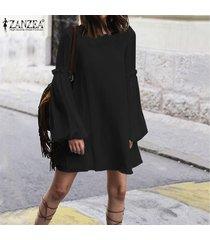 zanzea verano de las mujeres sin respaldo de manga puff partido vestido de tirantes club de playa mini vestido caliente -negro