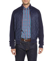 men's big & tall cutter & buck quilted zip sweater, size xlt - blue