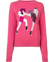 barrie chessboxing cashmere round neck pullover - pink