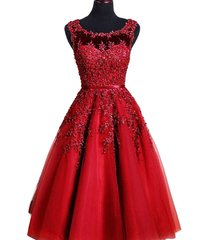 kivary sheer bateau tea length short lace pearls prom homecoming dresses wine re