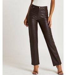 river island womens brown pu straight leg pants