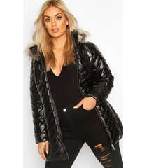 plus glanzende gewatteerde faux fur parka jas, zwart