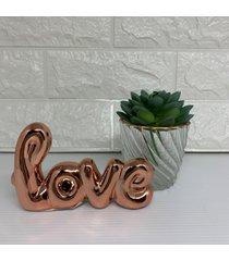 palavra love rose gold  e vaso de vidro com borda rose gold e suculenta - ros㪠- feminino - dafiti
