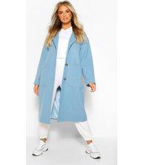lange nepwollen jas met zak detail, blauw