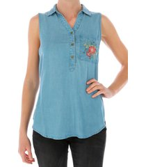 blusa s/m sleeveless denim shi azul cat