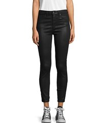 coated high-rise ankle skinny jeans