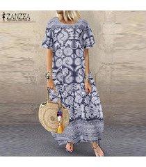 zanzea para mujer de manga corta floja ocasional imprimió el vestido de las señoras de kaftan maxi vestidos más el tamaño -azul marino