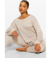 striped knitted top & legging lounge set, stone