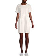 lea & viola women's seamed-waist t-shirt dress - white - size xs