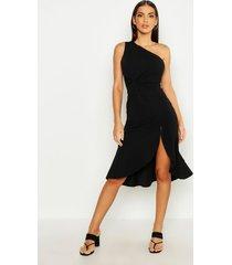 one shoulder knot front frill midi dress, black