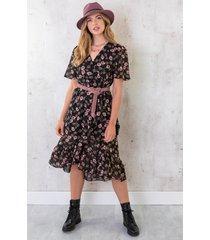 omslag midi jurk bloemen zwart