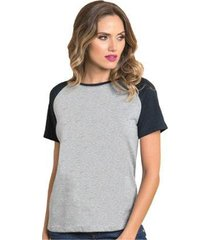 camiseta raglan básica lisa feminina - feminino