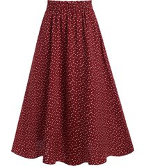 high waisted heart print midi skirt