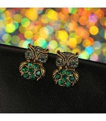 orecchini a forma di gufo con diamanti orecchini con strass verde a forma di uccello