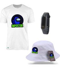 chapéu bucket e camiseta us impostor branco com relógio