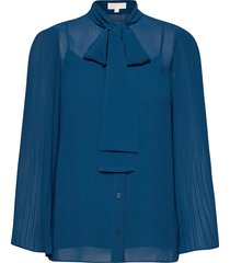 pleated top blouse lange mouwen blauw michael kors