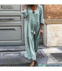 zanzea mujer vestidos de fiesta florales con cuello en v de manga larga con cordones para mujer -verde