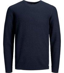 jack & jones trui 12164898 knit crew neck navy r blue - blauw