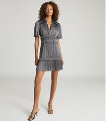reiss lydia - gather detailed mini dress in steel, womens, size 14
