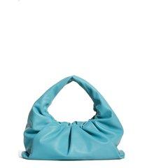 bottega veneta the shoulder pouch calfskin leather hobo - blue