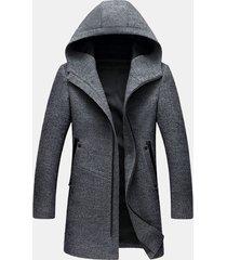 cappotto con cappuccio da uomo con cerniera sottile in misto lana casual medio lungo