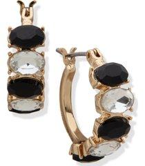 anne klein gold-tone stone hoop earrings