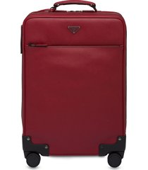 prada saffiano leather wheeled carry-on - red