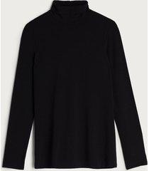 blusa de manga comprida em micromodal com gola alta  intimissimi micromodal preto