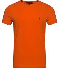 stretch slim fit tee t-shirts short-sleeved orange tommy hilfiger